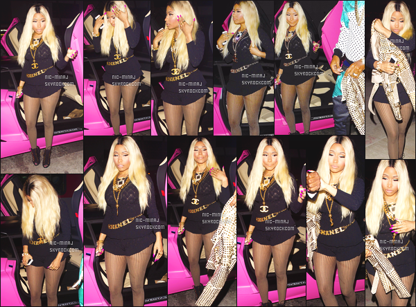 ------- 08/12/13:  :   Nicki Minaj accompagnée de Safaree qui se rendent à la fête pour son anniversaire   - à Los Angeles. J'aime tellement  la tenue, sa lui va à merveille cette couleur et se genre de combinaison. J'adore sa ceinture Chanel. Aimes-tu la tenue? -------