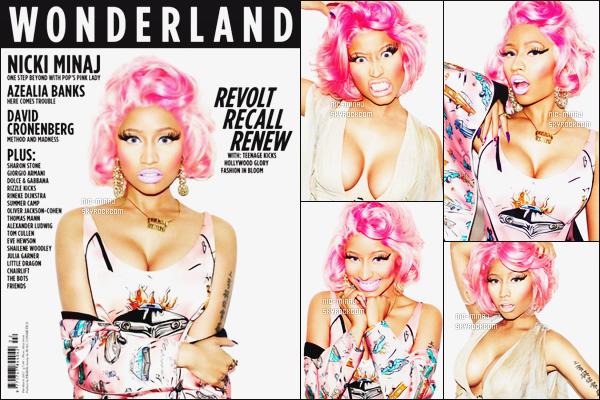 -------  Shoot   « Wonderland Magazine » photographié par Matt Irwin - Février 2012.   J'aime trop toute les photos, Nicki est vraiment classe et charismatique. J'adore ceux qu'elle porte, cela fait ressortir cette perruque rose.  -------