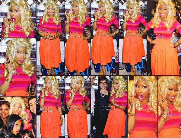 ------- 15/02/12:   Miss Nicki Minaj photographiée au lancement des produits Viva Glam arrivant à « MAC » - à New York. J'aime bien cette tenue simple la robe est tellement belle, j'adore trop la couleur, et gros top au talon orange. Top/Flop pour cette tenue? -------