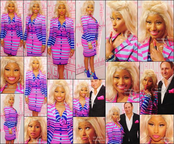 ------- 15/02/12:   Jolie Nicki Minaj photographiée au lancement des produits Viva Glam avec Ricky Martin - à New York. Je lui accorde un gros top vraiment pour cette tenue, j'adore trop les couleurs. Le rose est ma couleur favorite.  Top/Flop pour la tenue? -------