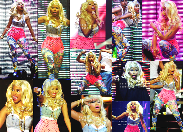 -------  18/06/12 :  Sublime Nicki    photographiée    en show pour sa tournée « Pink Friday Tour » à   Amsterdam     (Pays-Bas). Photos et videos créditez sur Twitter/Instagram par les fans présent au concert. Et aussi des photos lors des M&G. Top la perruque blonde.  -------