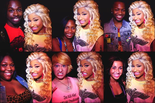 ------- 31/07/12: La princesse Nicki Minaj photographiée lors de sa tournée mondiale « Pink Friday Tour » - à St Louis.  Photos et videos créditez sur Twitter/Instagram par les fans.  Des photos lors des M&G. Elle est toujours habillé avec les memes tenues.  -------