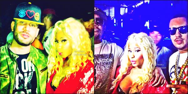 ------- 05/08/12 :  Mlle Nicki Minaj photographiée pour un concert organisé par le festival « Ovo Fest » -  Los Angeles.  Nicki porte un ensemble rouge et noire en dentelle artifice et une paire de bottes noire. Je lui met un gros top. ●● Aimes-tu cette tenue? -------