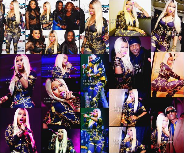 -------  02/11/13 : Nicki Minaj photographiée à la grande soirée « Power 105.1 » présenté par Play GIG-IT - à New York. Elle est belle dans cette perruque lisse. Nicki porte un ensemble de sa collection et des bottines Giuseppe Zanotti ●● Aimes-tu cette tenue ? -------