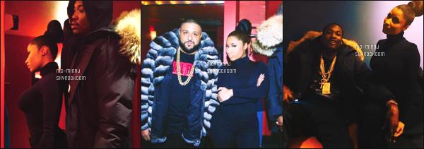 ------- 12/02/15: Miss Nicki photographiée accompagné de DJ Khaled au concert de son copain Meek Mill -  New York. Je lui accorde un bon top pour mlle Nicki. J'aime beaucoup cette tenue sombre classe et simple, je kiff aussi son cette coiffure en chignon. -------