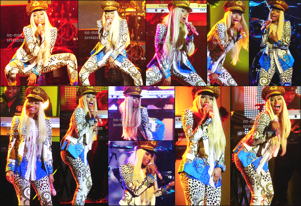 ------- 25/01/13 : Belle Nicki Minaj photographiée en prestation lors de l'emission « Jimmy Kimmel » - Los Angeles. Nicki a fait un medley de quelques titres sur The ReUp - J'aime  sa tenue simple et claire, j'aime surtout sa veste. Aimes-tu la tenue?!. -------