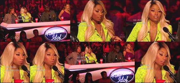 ------- 14/03/13:  Belle Minaj dans son role de juge photographiée lors d'un prime pour « American Idol »  - à New York. Nicki Minaj porte un ensemble (short + blazer) vert Vivienne Westwood et avec une paire de botte Versace.  Top/Flop pour la tenue?  -------