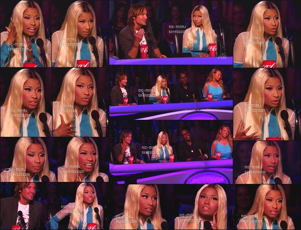 ------- 03/04/13:  Belle Minaj dans son role de juge photographiée lors d'un prime pour « American Idol »  - à New York.  Gros top vraiment.   Nicki Minaj porte une robe bleue, blanche avec de très jolie voile souple Antonio Berardi.   Top/Flop pour cette tenue?  -------