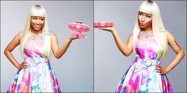 -------  Shoot + Video pub    de miss Nicki Minaj pour «  PINK  BEATS PILL  ».  - Avril 2013.     J'aime beaucoup la video commercial, Nicki est tellement mignonne et drole dedant, je suis fan de cette robe et de la perruque blonde.  -------