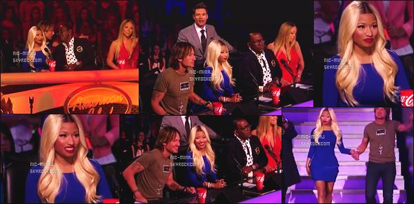 ------- 11/04/13:  Belle Minaj dans son role de juge photographiée lors d'un prime pour « American Idol »  - à New York.  Mlle Nicki porte une robe moulante bleu Dsquared2, et une paire de bottine à talon toujours Giuseppe Zanotti. Top/Flop pour cette tenue?  -------