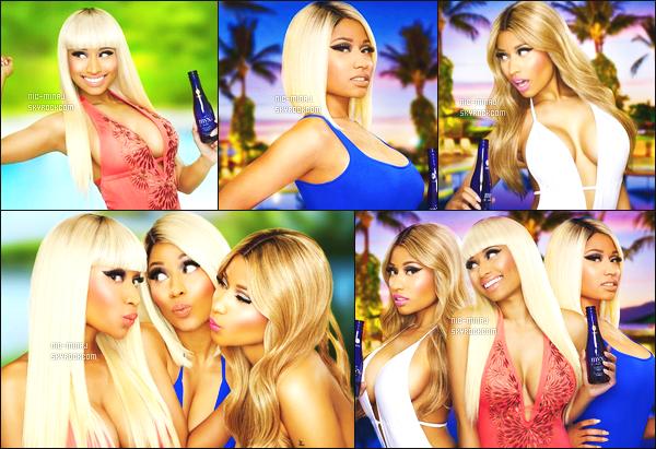 ------- ● ● Decouvrez des photos promotio de la boisson « MYX » de Nicki Minaj. - Juin 2013 J'adore les photos du shoot, Nicki est  simple, avec des perruques différentes, avec un trés jolie fond. J'adore trop ses perruques.  -------