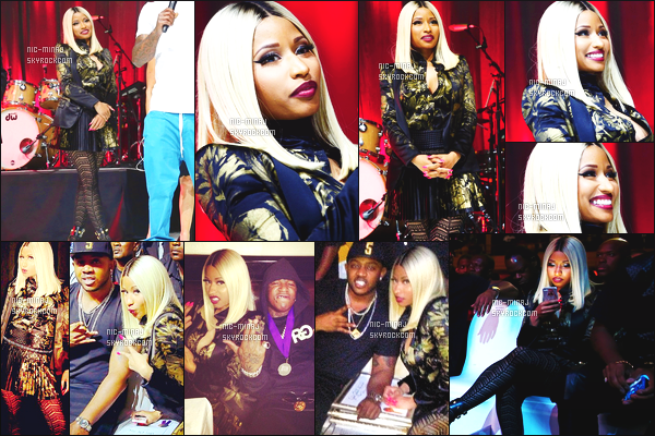 ------- 22/08/13:   Nicki photographiée assistant à l'événement « Bmi Awards » dont elle a remporté 15 prix - New York. Nicki Minaj porte une robe coloré sombre Roberto Cavalli et une paire de botinne Versace. Top pour sa tenue. Top/Flop pour la tenue?   -------