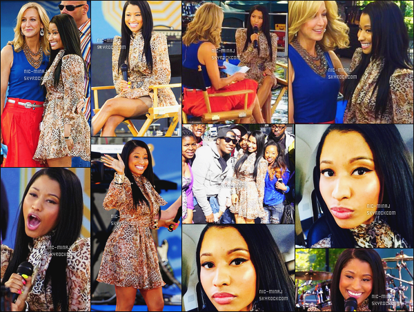 -------  06/06/14 : Jolie Nicki Minaj photographiée sur le plateau de l'émission « Good Morning America » - à New York. Gros top pour cette robe simple, ample et courte, cette tenue va bien au style simple de Nicki. Top pour les cheveux. Aimes tu cette tenue ? -------
