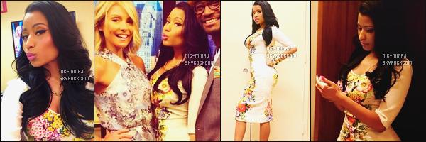 ------- 09/06/14:   Mlle Nicki Minaj photographiée sur le plateau de l'émission « Live! With Kelly & Michael » - New York. Gros top pour cette tenue - Nicki Minaj a parlé de son clip, le fait qu'elle soit à New York, ses photos sur Instagram. Aimes-tu cette tenue? -------