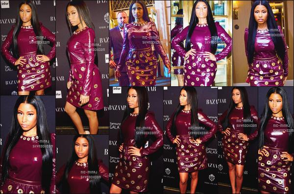 -------  05/09/14:  Notre miss Nicki Minaj photographiée dans la soirée à l'événement de « Harper's Bazar » - New York. J'aime beaucoup cette tenue, elle est belle, si sublime dedans, j'adore trop sa coiffure, asser longue et toute lisse. Aimes-tu cette tenue?    -------