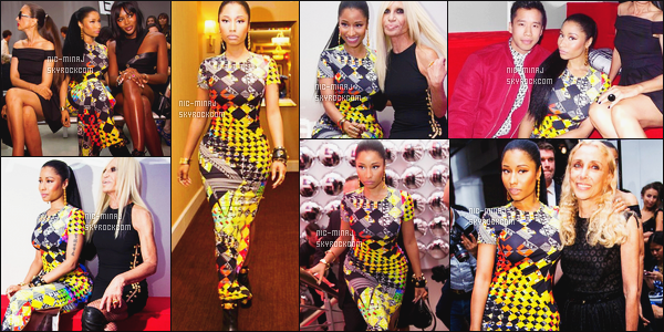 -------  07/09/14:   La princesse Nicki Minaj photographiée à la Fashion Week de « Versace » dans la soirée - à New York. Petit top pour la tenue, j'aime moyen cette tenue, j'aime pas les motifs et les couleurs. J'adore ses cheveux tiré et les boucles d'oreilles. -------