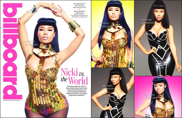 -------   • Voici Nicki en shoot + interview pour le magasine  « Billboard »  - Novembre 2014.     J'adore tellement la tenue dorée de notre sublime Nicki. Je suis assez fan aussi de cette couverture. Je lui met un bon top vraiment.  -------