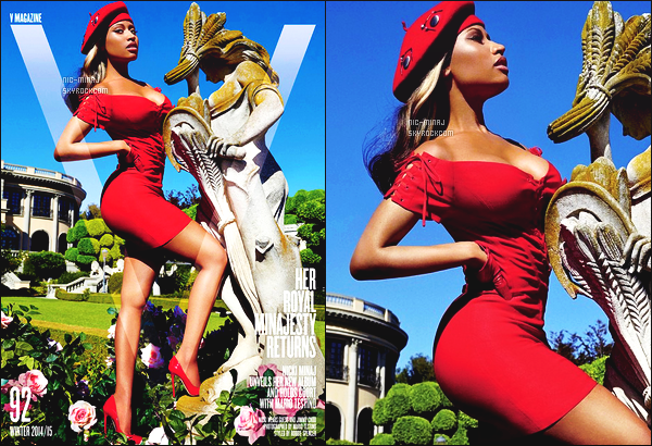 -------    Découvrez  Nicki Minaj en shoot + interview pour le magasine  « V »  - Decembre 2014.     Je lui met un bon top vraiment. Je suis trop fan de toutes les photos, cette perruque blonde lui va trop bien je suis trop amoureuse.  -------