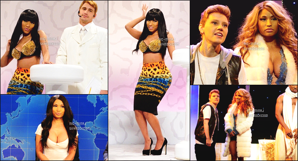 -------  Décembre 2014: Mlle Nicki Minaj faisant un stetch avec James Franco pour « Saturday Night Live » - à New York. J'adore beaucoup la tenue qu'elle porte. C'est vraiment le style de sublime Nicki Minaj. J'adore trop ses cheveux long, et lisse. Gros top. -------