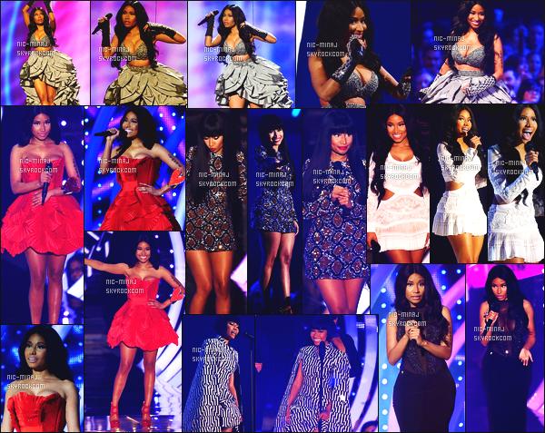 -------  09/11/14: Notre sublime Nicki Minaj photographiée présentant les « MTV Europe Music Awards » - à Glasgow. Mlle Nicki Minaj est vraiment sublime, j'adore beaucoup  toutes ses tenues elle est tellement au top, j'adore beaucoup cette robe rouge.  -------