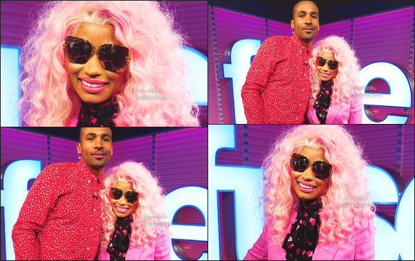 ------- 20/11/12:     Princesse Nicki Minaj photographiée à la stadio radio de « Fuse's Top 20 Countdown » - à New York.  Gros top  Nicki a un costume rose Fave Lines Versace et une paire de talon de couleur claire Giuseppe Zanotti. Top/Flop pour cette tenue?  -------