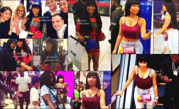 ------- 03/09/15:  Notre  sublime Nicki Minaj photographiée dans la journée faisant du shopping avec Meek Mill à Dubai. Pas fan de ses tenues vraiment, surtout de cette robe. Je lui met un gros flop. J'adore sa coiffure avec la frange. ●● Aimes-tu cette tenue?  -------