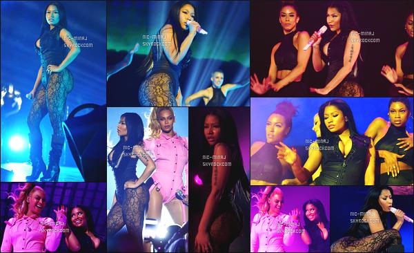------- 20/10/15: Miss Nicki Minaj photographiée au grand show donné par «  Tidal » avec la reine Beyonce - New York.  J'aime beaucoup la tenue tres sexy de Nicki j'aime trop se body en dentelle qui met bien en valeur toutes les formes de la miss Onika.  -------