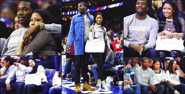 ------- 16/01/16: Nicki photographiée assistant au « match de basket » avec son petit ami Meek Mill - à Philadelphie. Aussi quelques photos sur Instagram - J'aime beaucoup cette tenue simple, je suis fan de sa veste ( Marc Jacobs ) & ses talons. Top/Flop?    -------