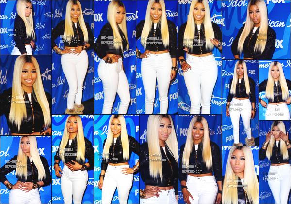 ------- 16/05/13 : Nicki Minaj  photographiée  en press room pour la final de «  American Idol ». - dans Los Angeles.  Gros top pour cette tenue tous comme pour la perruque blonde longue. Bravo à la gagnante Candice Glover. ●● Aimes-tu la tenue?!. -------
