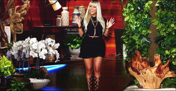 ------- 06/04/16 : La rappeuse Nicki Minaj  photographiée sur le plateau télé  « The  Ellen Show » - dans Los Angeles. Je suis trés fan de la tenue elle est vraiment sexy dans cette combinaison short. Gros top pour cette perruque elle a l'habitude de porter. -------