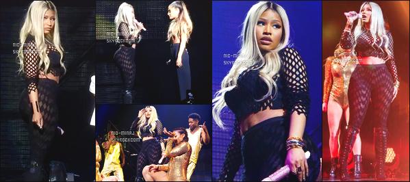 ------- 09/04/16 : La jolie Nicki Minaj  photographiée sur la scéne  « T Mobile Arena » avec Ariana Grande  -  Las Vegas. Dommage pour la tenue de scene qui est trop repetitif mais bon cela lui va bien et puis c'est son style aussi petit flop pour la tenue verte. -------