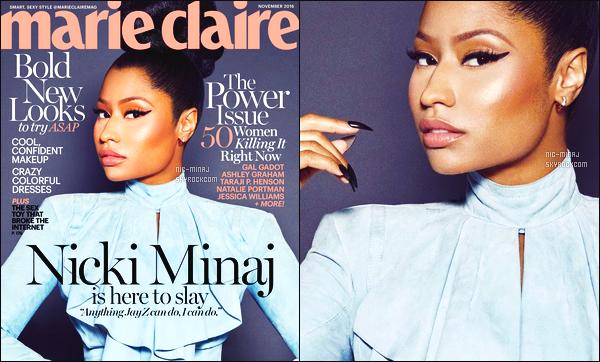 -------   Découvrez Nicki Minaj  en shoot + interview pour « Marie Claire »  -  Novembre 2016.    J'aime trop se shooting, Nicki est vraiment sublime je suis tres fan des photos. Traduction (remixé) faite pour moi-même merci de respectez.  -------