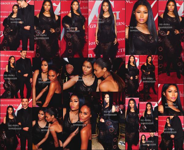 ------- 27/10/16: Notre sublime Nicki Minaj   photographiée au gala de    « Fashion Group International » -  New York.  Petit top pour la tenue. Je n'aime pas trop cette grosse veste qui l'accompagne, j'aurais aimé la voir sans. Gros top pour ses longs cheveux. -------
