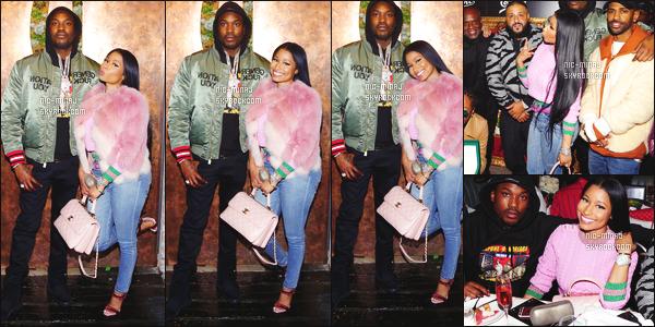 ------- 19/11/16:  Nicki photographiée lors du grand repas   « The Keys » dans la soirée avec Meek  Mill -   à Los Angeles.  C'est un repas organisé pour le rappeur Dj Khaled. Gros top pour la tenue à Nicki, je suis vraiment fan de ses longs cheveux lisse. J'adore. -------