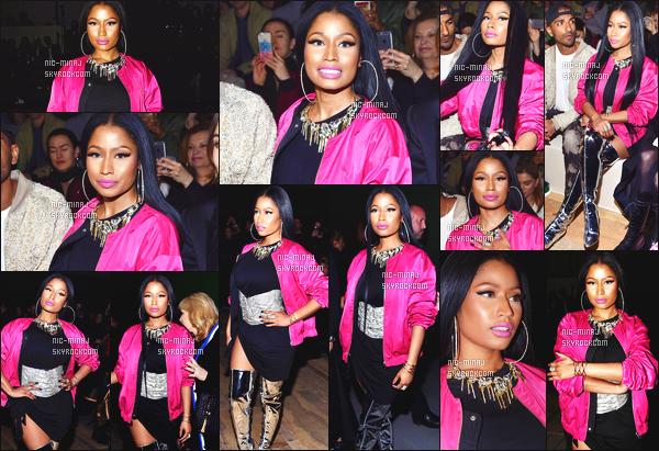 ------- 01/03/16: Notre princesse sexy Nicki Minaj   photographiée assistant à la Fashion Week de      « H & M » -  à  Paris.  Nicki Minaj n'a pas froid aux yeux. Elle reste tellement belle j'adore trop cette tenue surtout la veste rose. Gros top pour ses longs cheveux. -------
