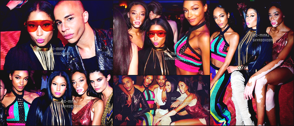 ------- 02/03/16: La princesse  Nicki Minaj   photographiée assistant à la soirée de      « Balmain » en boite de nuit -  Paris.  Nicki Minaj est tellement sublime. Elle s'amuse comme une petite folle j'aime tellement. Gros top pour cette tenue tres original j'adore trop. -------