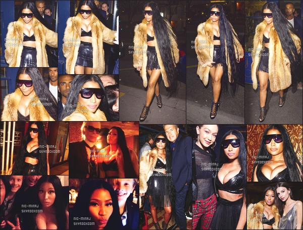 ------- 07/03/17: Merveilleuse Nicki Minaj photographiée quittant le restaurant   « La Perouse » dans la soirée - à Paris.  Gros top pour cette tenue, j'aime beaucoup cette tenue en cuire jupette. Mais gros flop pour se manteau en fourrure et ses longs cheveux. -------