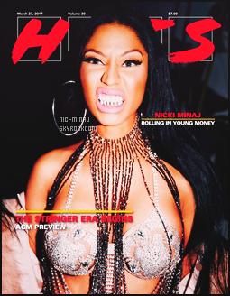 ------- ● ● Découvrez la couverture de  la belle Nicki pour le magazine « HITS » - Mars 2017. J'aime assez la couverture, elle est sublime notre princesse Nicki mais bon pas trop fan de la grimace et des cheveux trop long brun.  -------