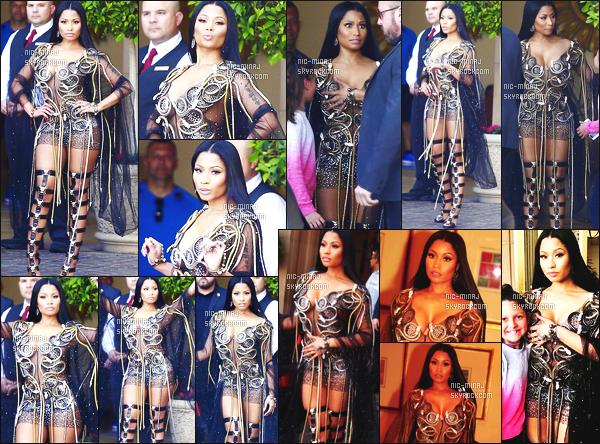 ------- 03/04/17: Sublime Nicki Minaj photographiée sur le tournage de « No Frauds » à l'hôtel Montage - Beverly Hills. Elle a tournée quelques scenes dans cet hôtel. Gros top pour la tenue. On dirait tellement une duchesse. La robe est original lui va bien.  -------
