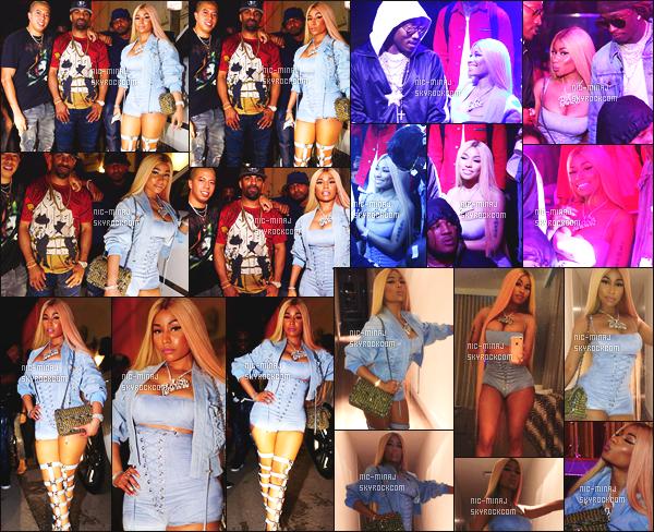 -------  30/07/17 : La belle  Nicki Minaj photographiée  s'amusant dans la boite de nuit  « Story » dans la soirée -  Miami.   + Des photos persos sur son compte Instagram. Je lui accorde un petit flop pour cette tenue, je trouve que la tenue la grossit beaucoup. -------