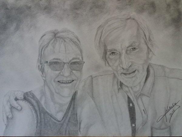 Portrait de nous deux réalisée par une amie peintre