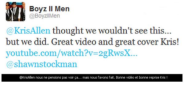 """__ 01/06/12 - Kris a gagné le respect des Boyz II Men en interprétant """"Water Runs Dry """" (leurs chanson, à l'origine) qu'il a interpréter le 26 Mai, dernier.                                             ."""