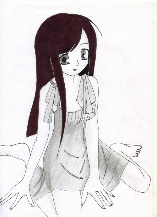 Premier dessin: fille en robe