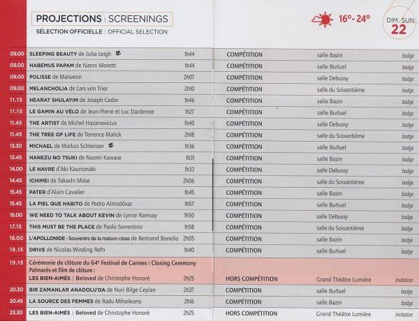 Rediffusions : programmation du dimanche 22 mai 2011