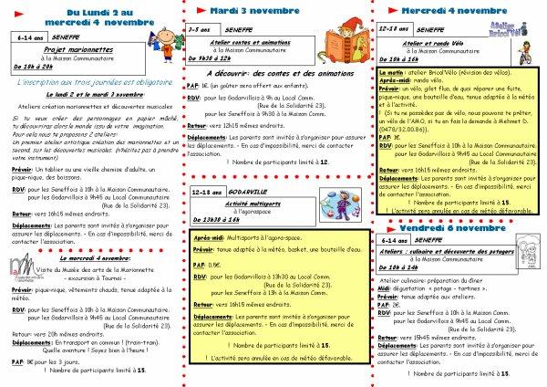 Programme d 39 activit s durant les vacances de toussaint - Job vacances toussaint ...