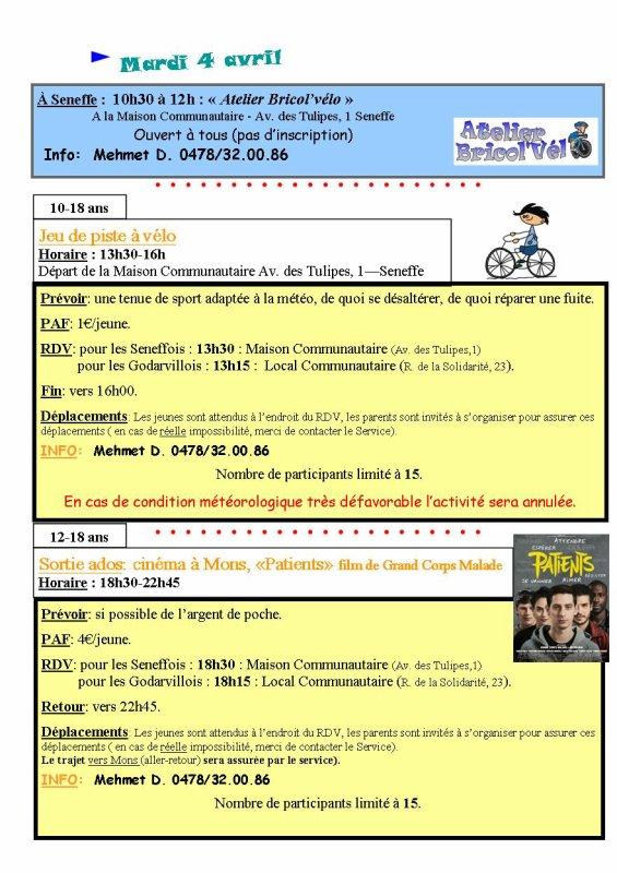 Programme d'activités congés de printemps (Paques)