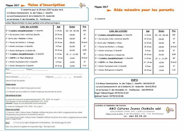 Programme d'activités congés de printemps (Paques) suite