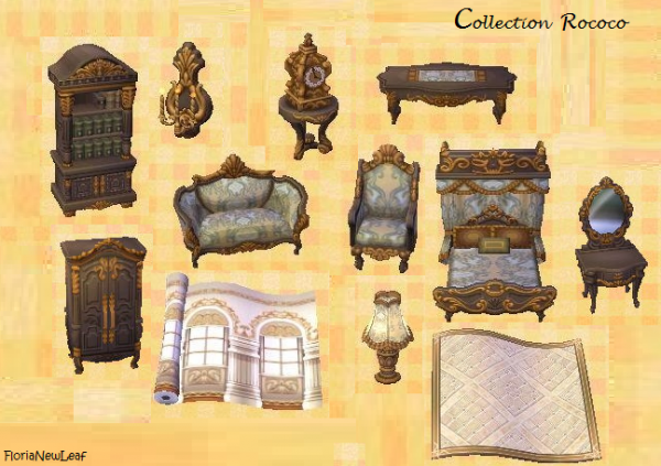 collection rococo florianewleaf nouvelle vie sur animal crossing. Black Bedroom Furniture Sets. Home Design Ideas