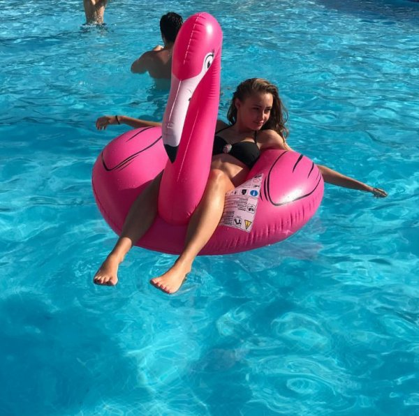 Me and my sister on a flamingo 🍉👙