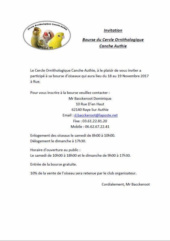 Invitation Bourse 2017